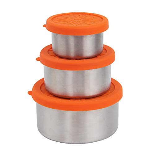 kilofly 3-Piece BPA Free Leak Proof Nesting Reusable Eco to Go Variety Stainless Steel Food Storage Container with Silicone Lid for Snack Dip Portion Control Lunch Baby Kid 34 74 135-Ounce Orange