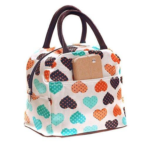 Meiyuan Outdoor School Office Heart Pattern Lunch Bag Food Storage Tote Handbag
