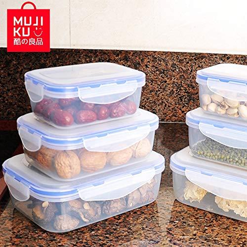 Fiesta MUJI KU Kitchen Plastic Food Container Set Bento Lunch Box Rectangular Buckle Microwave Refrigerator Food Storage Sealed Box 3 storage-XL-blue