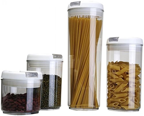 Keraiz 4-Piece Round Transparent Plastic Food Containers Set White 1441 x 1031 x 528 cm