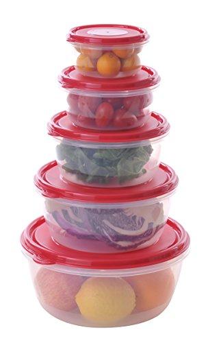 Uniware Super Large Round Plastic Food Container Set with Crimson Pe Lid 36 Qt  23 Qt  14 Qt  08 Qt  04 Qt 7514