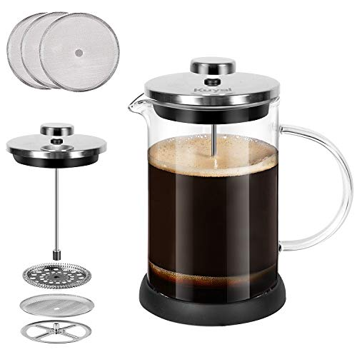 Glass French Press Coffee Maker 20 oz about 5 cups 600 ml Stainless Steel Coffee Press with 3 Extra Filter Screens Heat Resistant Borosilicate Glass with Large Capacity