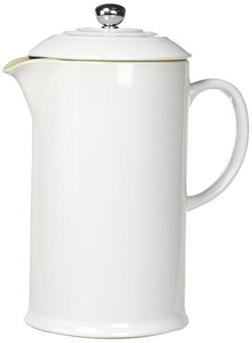 Le Creuset PG8200-1016 Stoneware French Press Coffee Maker 27 oz White