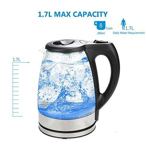 MeyKey Glass Electric Kettle 17L Fast Water Kettle Premium Cordless Tea Kettle kettle