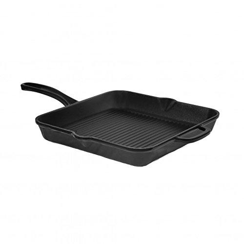 Turgla GRSQR24BLK Hecha Cast Iron Square Grill Pan 95 Length x 95 Width Glossy Black