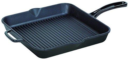 Turgla GRSQR28BLK Hecha Cast Iron Square Grill Pan 11 Length x 11 Width Glossy Black
