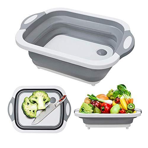 Dish Rack Plates Holder Kitchen Storage Multi-Board Collapsible Basket Folding Dish Washing Sink 4 in 1 Cutting Board Portable Drain Basin for Kitchen Fruit Vegetable