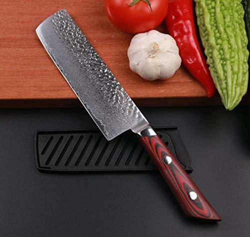 EVERRICH Nakiri Vegetable Knife 7 Inch Kitchen Knife Pro Chef Knife Cut Vegetables Cut MeatFish Fruits Chef Knife Japanese VG10 Damascus Steel