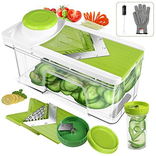 ONSON Adjustable Mandoline Slicer with Spiralizer Vegetable Slicer - V Blades Food Slicer Veggie Slicer Cutter Zoodle Maker - Vegetable Spiralizer with Julienne Grater Green