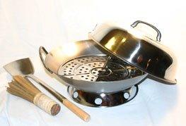 14 Stainless Steel 2 Metal Handle Round Bottom Wok Set - heavy 14 gauge