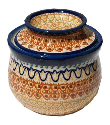 Polish Pottery French Butter Dish From Zaklady Ceramiczne Boleslawiec 1512-117 Art Signature Pattern