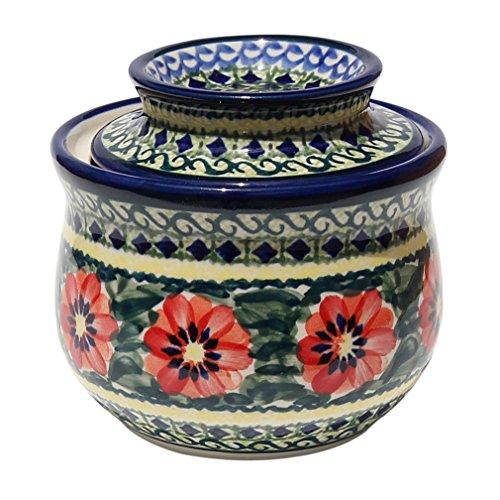 Polish Pottery French Butter Dish From Zaklady Ceramiczne Boleslawiec 1512-134 Art Signature Pattern