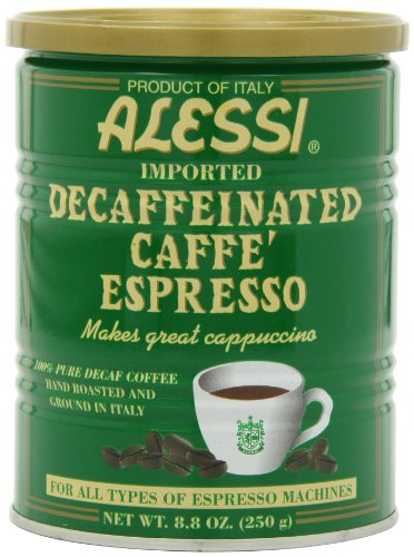Alessi Decaf Espresso Ground Coffee 88-Ounce Cans Pack of 6
