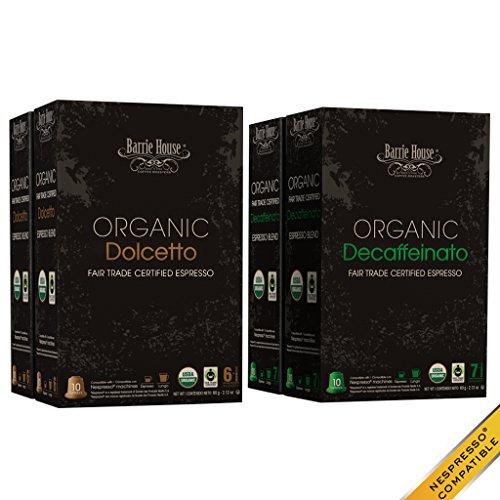 Nespresso Compatible Barrie House Fair Trade Organic Espresso Capsules 160 ct Dolcetto  Decaffeinato --Fits in Nespresso OriginalLine