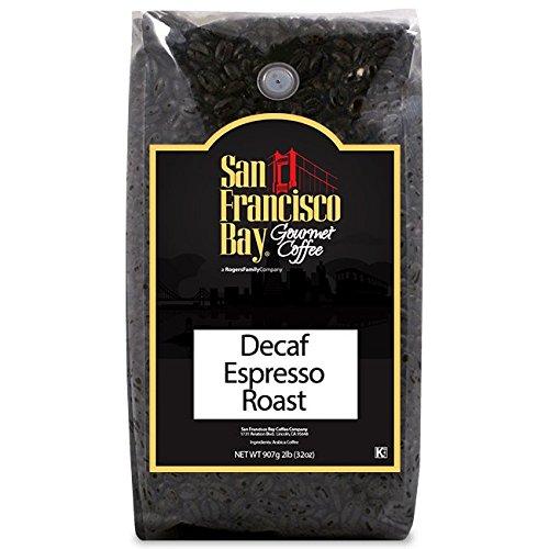 San Francisco Bay Coffee Decaf Espresso Roast Whole Bean 2-Pound 32 oz Swiss Water Process- Decaffeinated