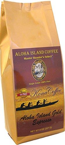 100 Pure Kona Coffee Aloha Island Brand ESPRESSO Very Dark Roast Smooth Low Acid Pure Kona in a Very Robust Rich Espresso Roast Profile 8 Oz Ground Drip Grind