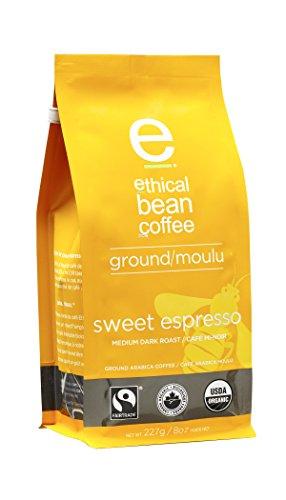Ethical Bean Coffee Sweet Espresso Medium Dark Roast Ground Espresso - USDA Certified Organic Coffee Fair Trade Certified - 8 ounce bag