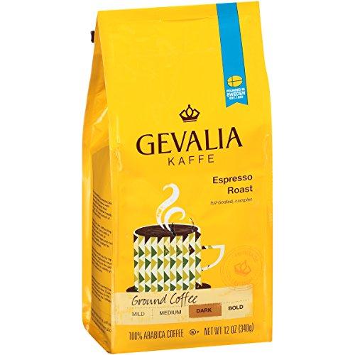 Gevalia Espresso Blend Coffee Dark Roast Ground 12 Ounce Bag Pack of 6