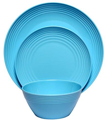 Melange 12-Piece  Melamine Dinnerware Set Solids Collection   Shatter-Proof and Chip-Resistant Melamine Plates and Bowls  Color Blue  Dinner Plate Salad Plate Soup Bowl 4 Each