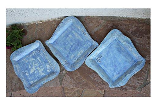 Blue Square Dinner Plate set of 3 handmade pottery dinnerware