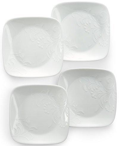 "Corelle Dinnerware Dessert Plates Set Square Boutique Cherish 65"" Set of 4"