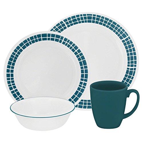 Corelle Livingware 32-Piece Dinnerware Set Aqua Tiles Service for 8 Two 16-Piece Sets