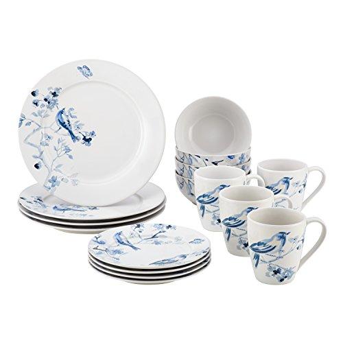 Paula Deen 16 Piece Indigo Blossom Stoneware Dinnerware Set Print