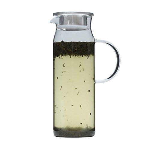Brilliant - Jasmine Glass Water Jug Tea Jug with Stainless Steel Filter Lid 12 Liters 41oz