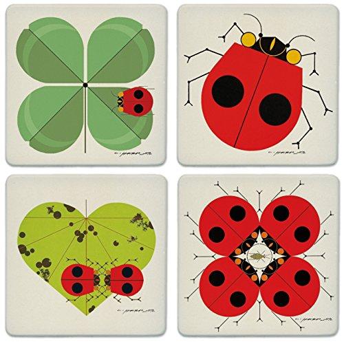 Charley Harper Ladybugs Absorbent Stone Coaster Set