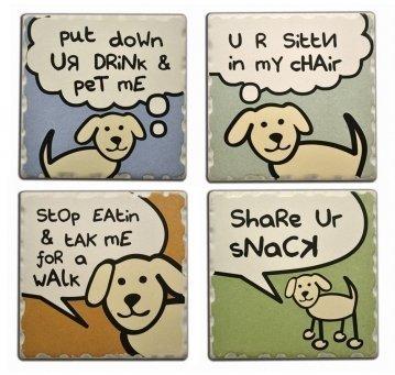 Dog Speak 4 Absorbent Stone Coasters 1753 Dog Speaking Set