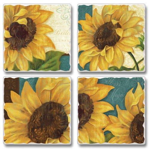 Sunshiny Day Sunflowers Square Assorted Tumbled Stone Coaster Set of 4 Highland Graphics