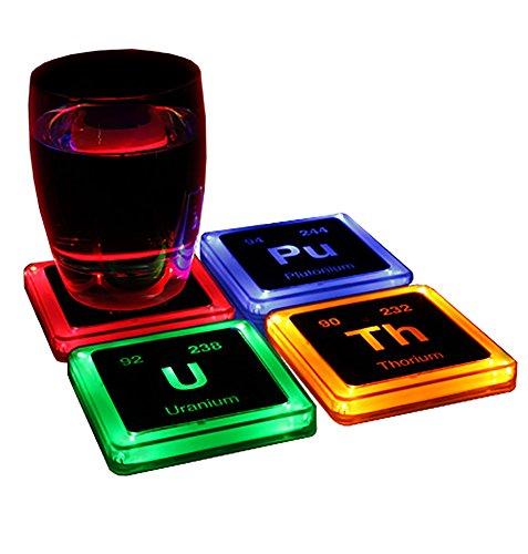 ThinkGeek Radioactive Elements Glowing Coaster Set - Radium Plutonium Uranium and Thorium - Set of 4