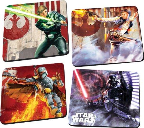 Vandor 99085 Star Wars 4 pc Wood Coaster Set Multicolor