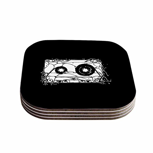 KESS InHouse BarmalisiRTB Cassette Black White Coasters Set of 4 4 x 4 Multicolor