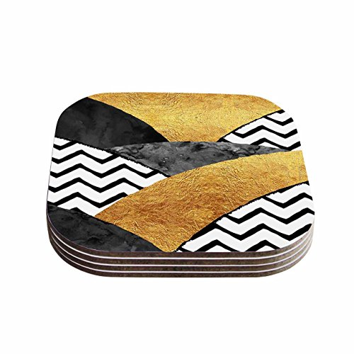 KESS InHouse Zara Martina Mansen Chevron Hills Gold Black White Coasters Set of 4 4 x 4 Multicolor