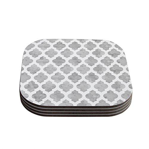 Kess InHouse Amanda Lane Gray Moroccan Grey White Coasters 4 by 4-Inch Gray Set of 4