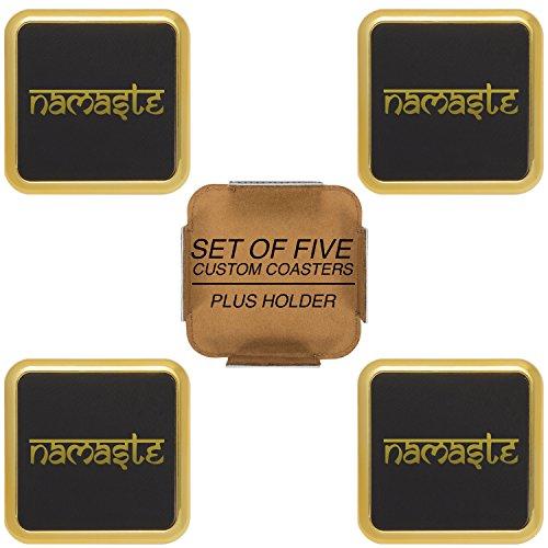 Namaste Tibet Buddha Gold Engraved Synthetic Leather Drink Coaster Square Gift Set of 4