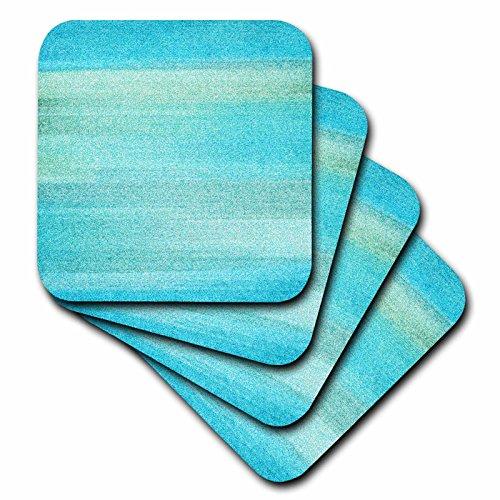 3dRose cst_152091_2 Abstract Aqua Sea Beach Theme Art Soft Coaster Set of 8