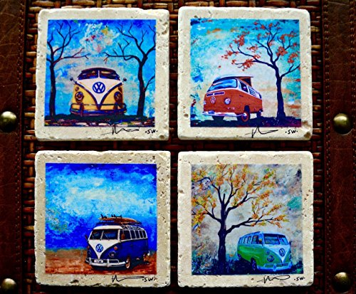 Fine Art Coasters set of 4 VW Bus Volkswagen Bus drink coaster travertine stone distressed car camper bus fathers day hippie gift man men present