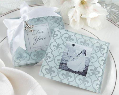 Fleur-de-Lis Frosted-Glass Photo Coasters Set of 2 SET OF 24