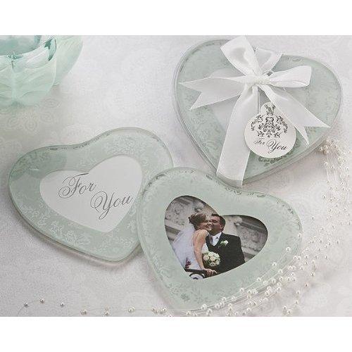 Heartfelt Memories Heart Shape Photo Coasters Set of 2 - Wedding and Bridal Shower Favor Guest Keepsake Gift BULK BUY SALE