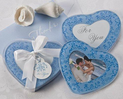 True in Blue Heart Shaped Photo Coasters Set of 2 - Wedding and Bridal Shower Favor Guest Keepsake Gift BULK BUY SALE