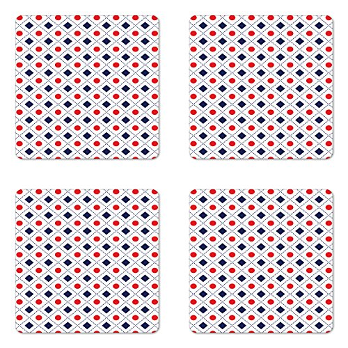 Ambesonne Navy Blue and Red Coaster Set of 4 Big Red Dots Squares and Dashed Lines Geometric Tile Print Square Hardboard Gloss Coasters for Drinks Navy Blue Red and White