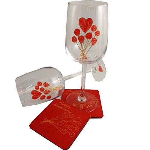 40th Anniversary Ruby Wine Glass Coaster Set Flower