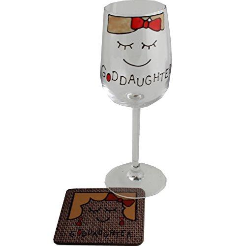 Goddaughter Wine Glass Coaster Gift Set Cami