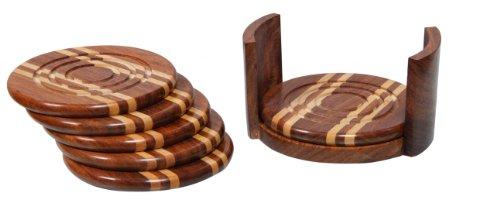 VinoStrumenti 6-Piece Round Wood Wine Glass Coaster Set with Holder