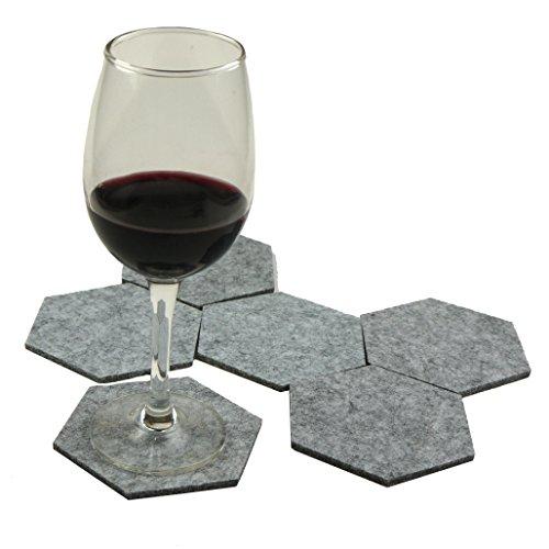 lieomo Handmade Grey 6PCS Felt Fabric Geometric Hexagon Drink Wineglass Coasters LE-HD-22