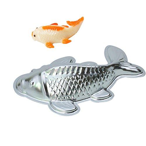 GXHUANG 10 inch Lifelike Carp Aluminum Cupcake Bake Pan Fish Cake Baking Cyprinoid Mold Fish
