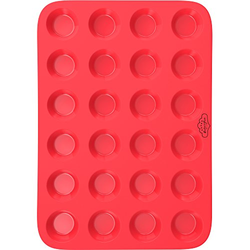 BakeitFun Mini Silicone Muffin Baking Pan in Vibrant Red Color with 24 Small Circular Compartments That Can Be Used for Cupcakes Tarts and Other Baked Goodness Perfect for Professional and Home Use