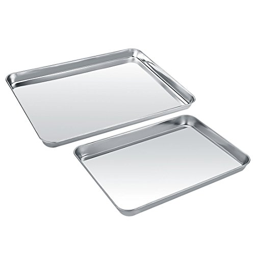 Baking Sheet Set of 2 Zacfton Cookie Sheet Set Baking Pan 2 Pieces Stainless Steel Rectangle Size Non Toxic HealthySuperior Mirror Finish Easy Clean Dishwasher Safe